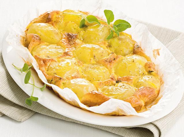 Potato pie with mozzarella and parmesan