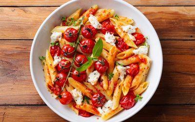 Penne pasta with fresh tomato sauce and mozzarella